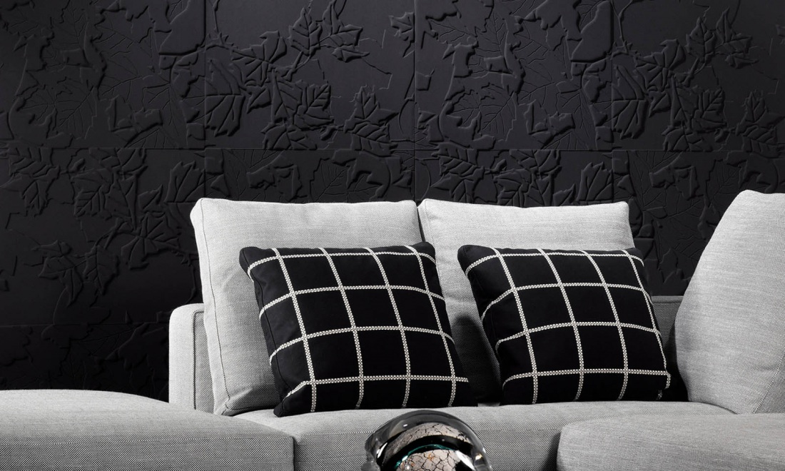 Flex | Eclipse, a 3D textile wallcovering in black & white
