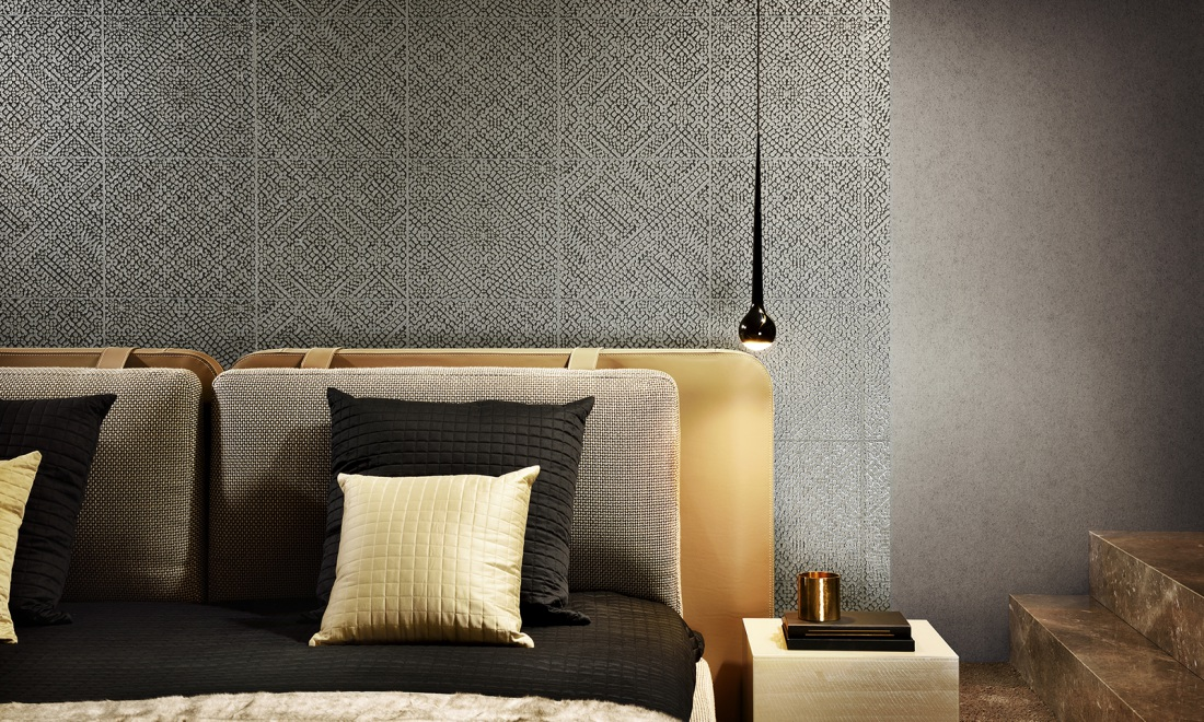 Grace Monochrome wallpaper with relief inks Collections Arte