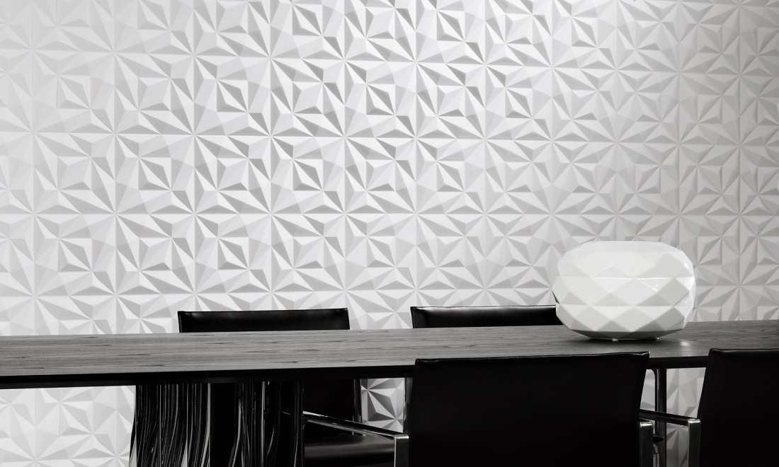 Eclipse A 3D Textile Wallcovering In Black White