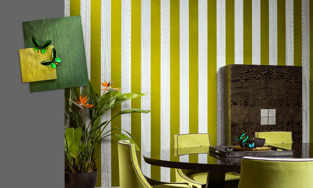 Amazone 2, textile wallcovering with velvet and embossed patterns ...